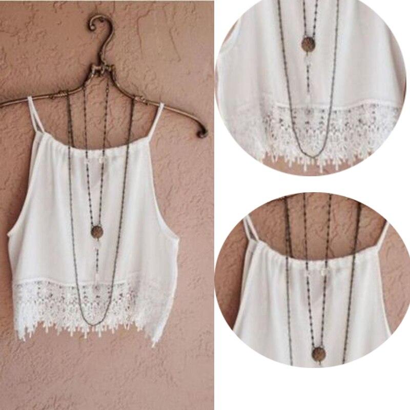 5662f9421ce0 Moda algodón Sexy Tops mujer verano encaje Tops sin mangas Casual sólido  Tops camiseta S M L XL