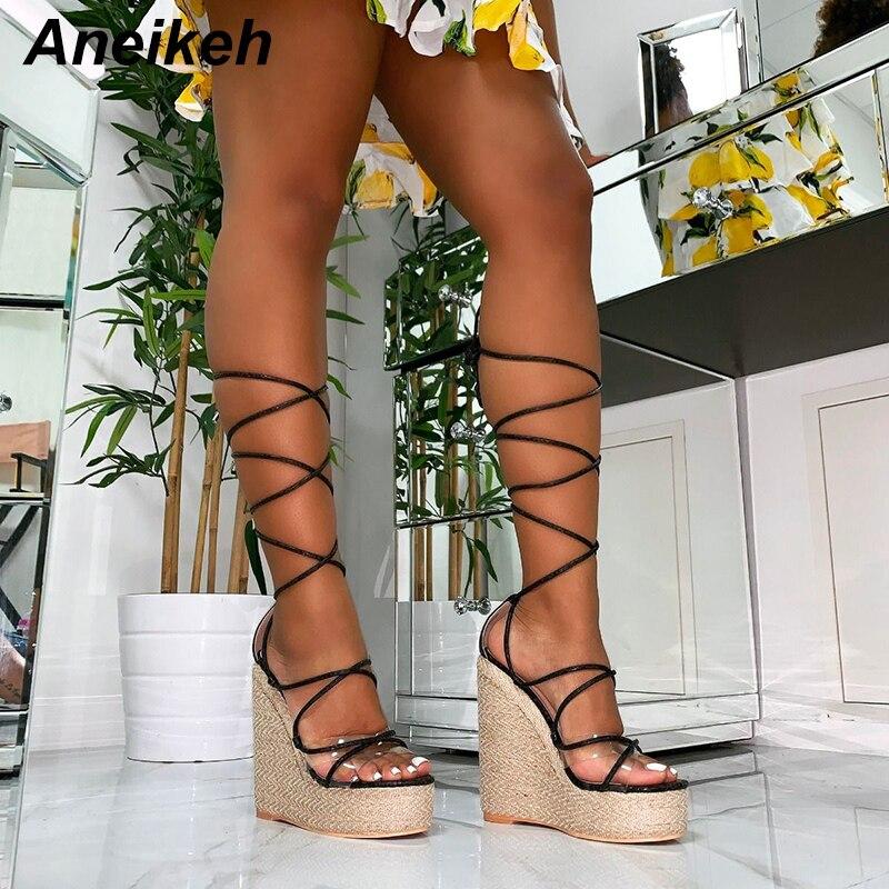 Aneikeh/сандалии из ПВХ для отдыха; женские прозрачные сандалии на шнуровке; Туфли на высокой танкетке с тонким ремешком; однотонные вечерние туфли черного и золотого цвета; Размеры 35 42