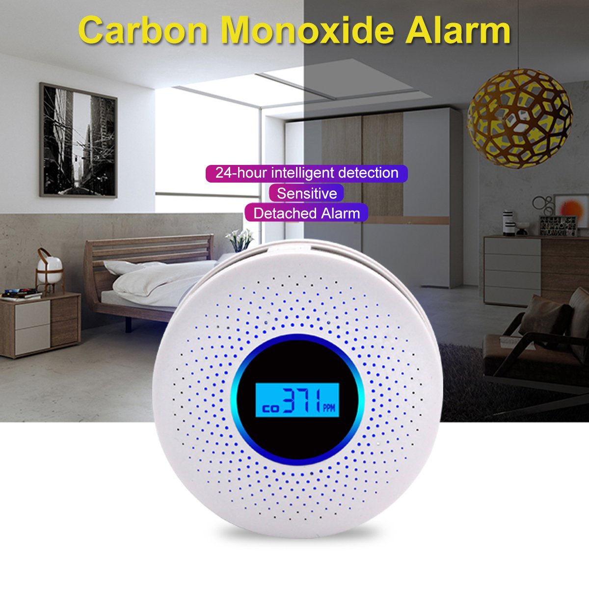 2 In 1 LED Digital Gas Smoke Alarm Co Carbon Monoxide Detector Voice Warn Sensor Home Security Protection High Sensitive