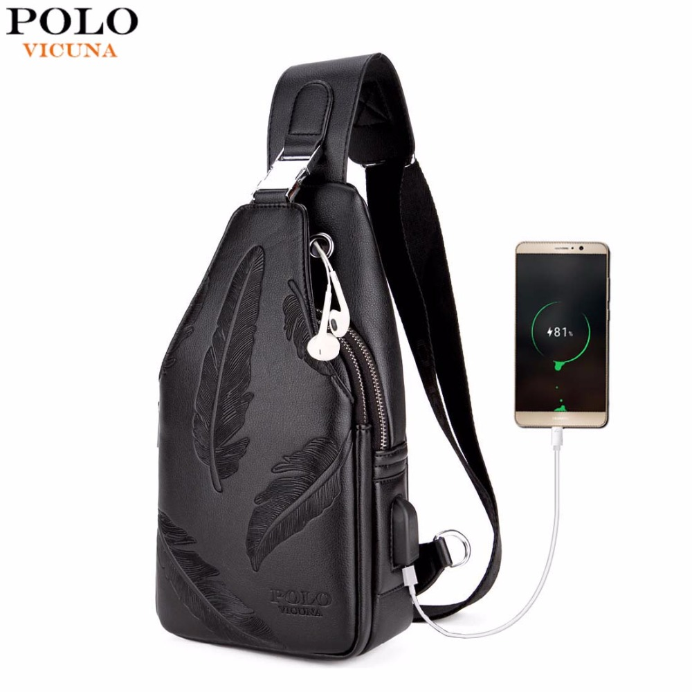 VICUNA POLO Double Pocket Feather Embossing USB Charging With Headphone Outlet Leather Men Messenger Bag Shoulder Bag Chest Bag concise men s messenger bag with embossing and dark color design