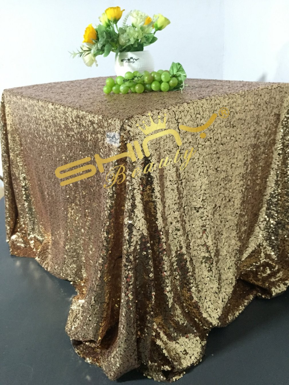 90x132 Inch Black Gold Sequin Tablecloth Sparkling Sequin