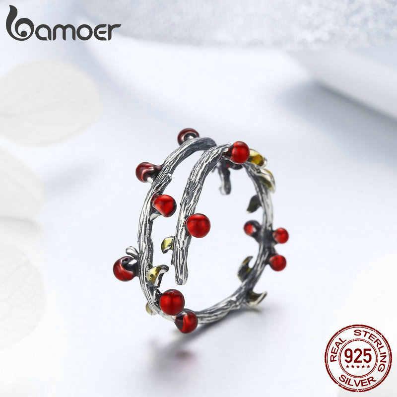 Bamoer authentic 925 prata esterlina outono árvore folhas ramo anéis brincos conjuntos de jóias moda conjunto de jóias de prata esterlina