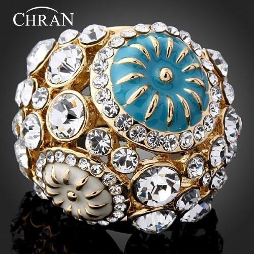 CHRAN уникальный Дизайн Enmale цветок Crytsal обещали колец для Для женщин
