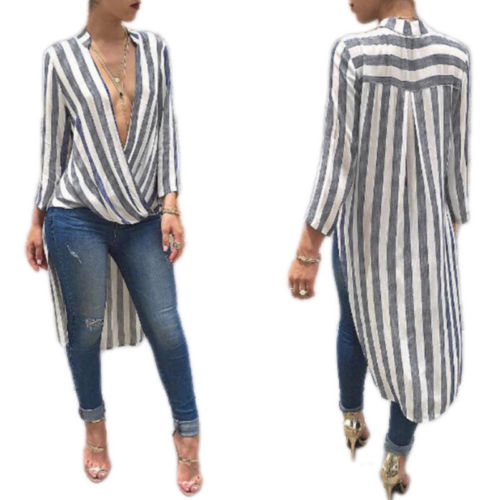 2018 Women Striped Long Sleeve Shirt Femme Deep V Neck Loose Blusas Autumn Fall Casual Irregular Long Blouses Tops Sexy Tee
