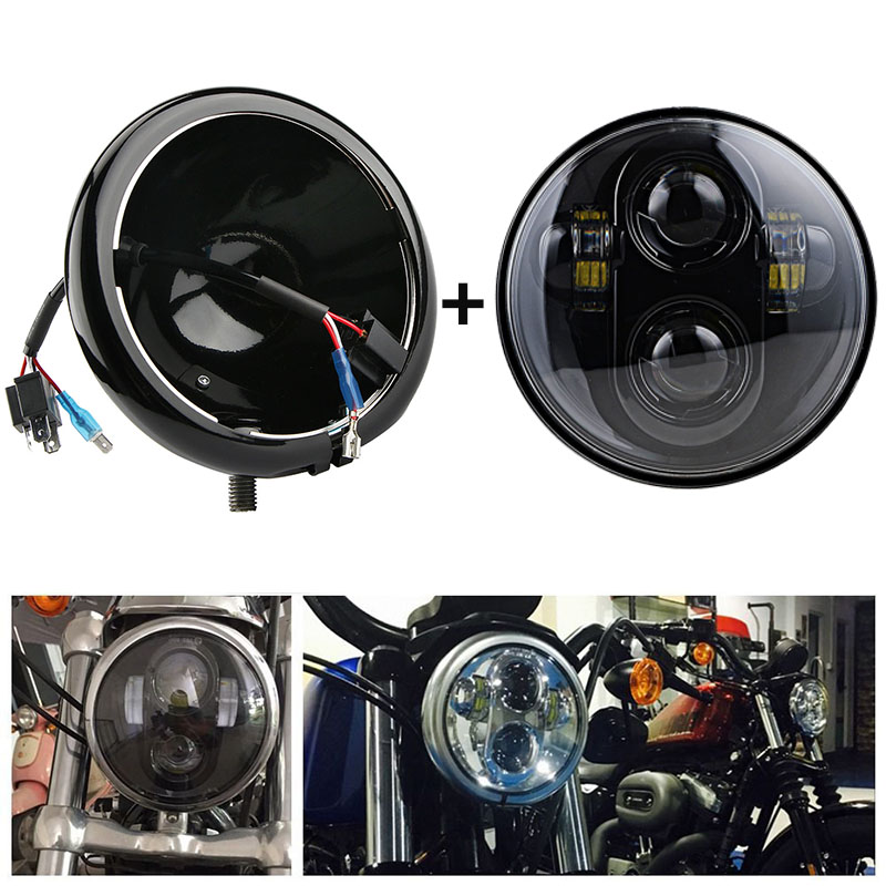 5.75 Inch Headlight Housing Bucket For Harley Softail Sportster Dyna Choppers 5.75'' Led Headlamp Bracket Housing