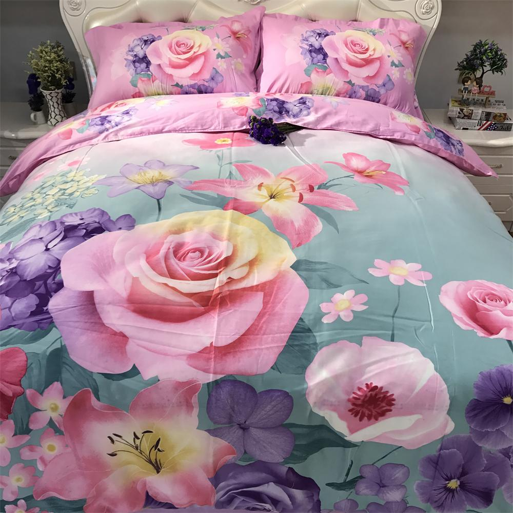 Pink and Purple Flowers Bedding Set Queen Size Cotton 3D Floral Printed Duvet Cover Pillowcase Bedsheets Family Bedroom Sets