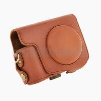 Protettiva staccabile fotocamera digitale custodia in pelle pu borsa + tracolla per can & n sx170 marrone