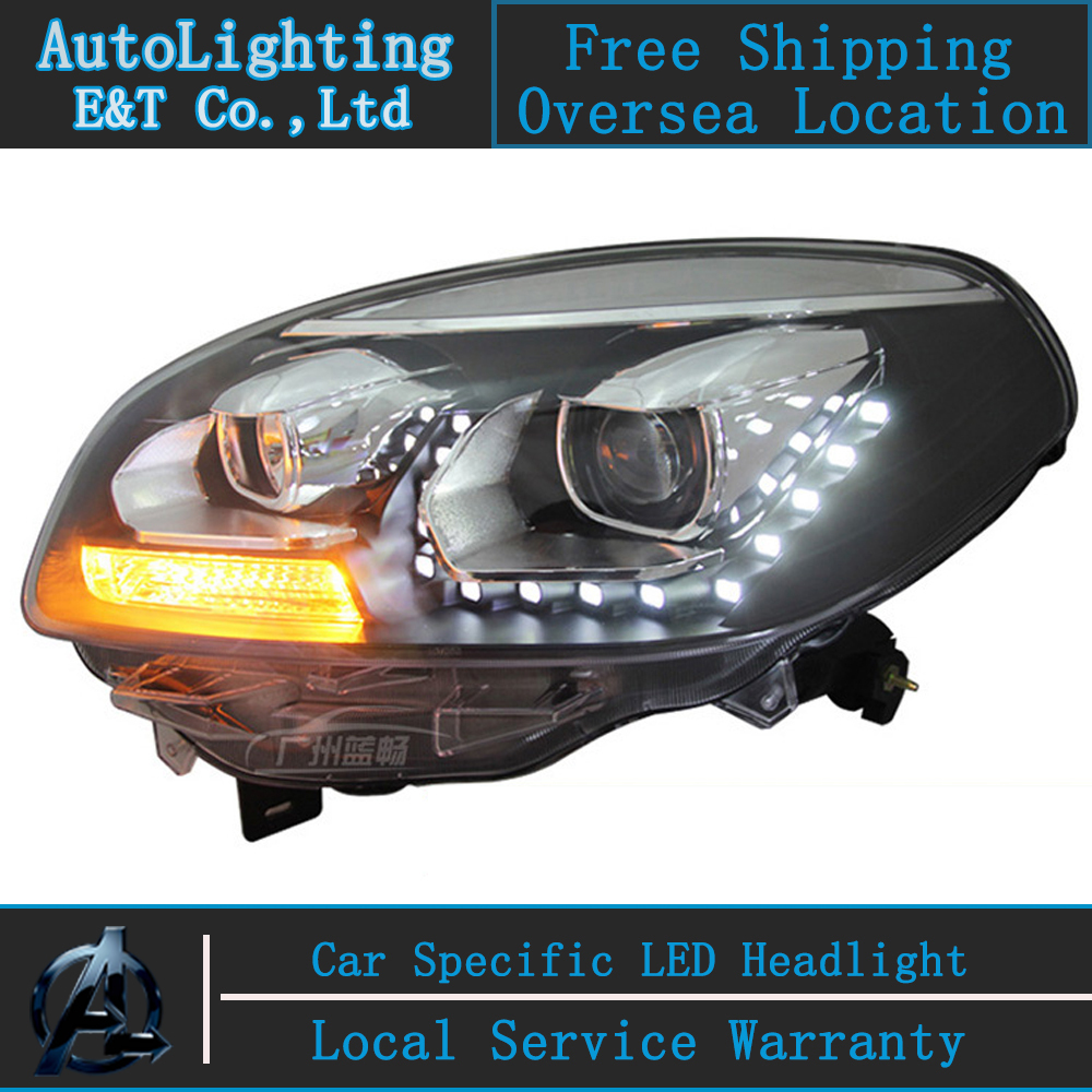 Car Styling LED Head Lamp for Renault Koleos headlight assembly 2012-2014 koleos led headlight drl H7 with hid kit 2pcs. car styling led head lamp for hyundai ix35 led headlight assembly 2010 2014 tuscon headlights drl h7 with hid kit 2pcs