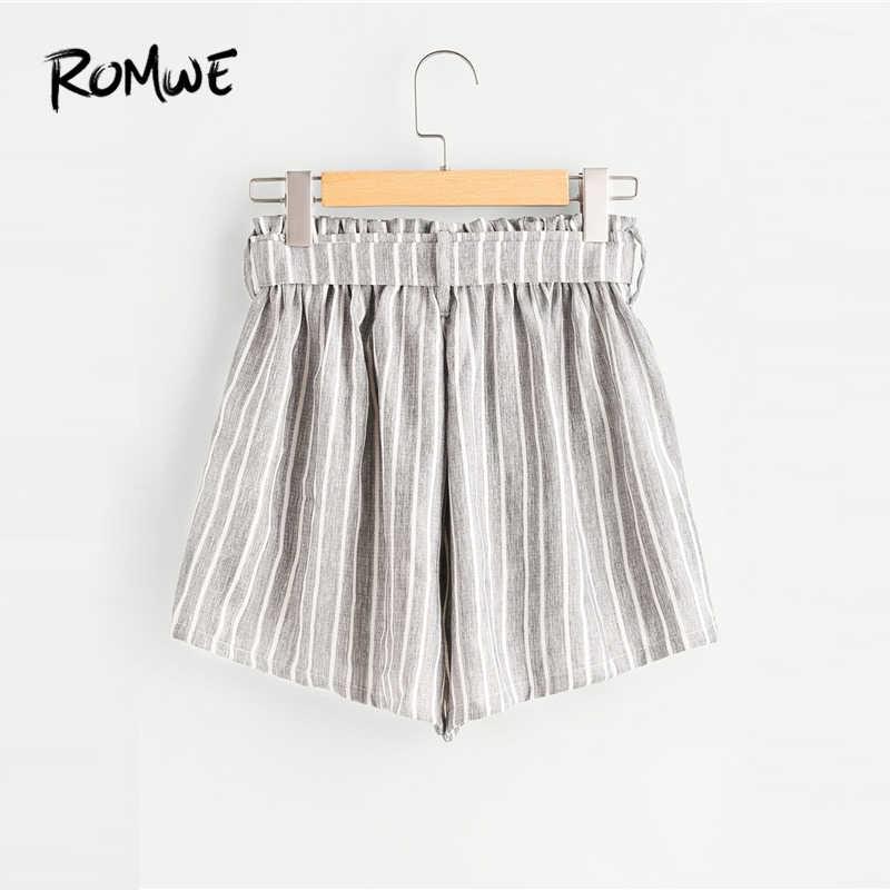 0ebade95c101 ... ROMWE Vertical Striped Elastic Waist Self Tie Front Shorts Womens Grey  High Waist Shorts Summer Straight ...
