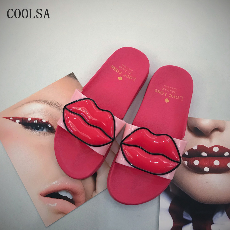 Women Slippers Summer Fashion Red Lips Shoes Outdoor Leisure Beach Slippers Home Flat Flip Flop Soft Comfortable Non Slip Slides