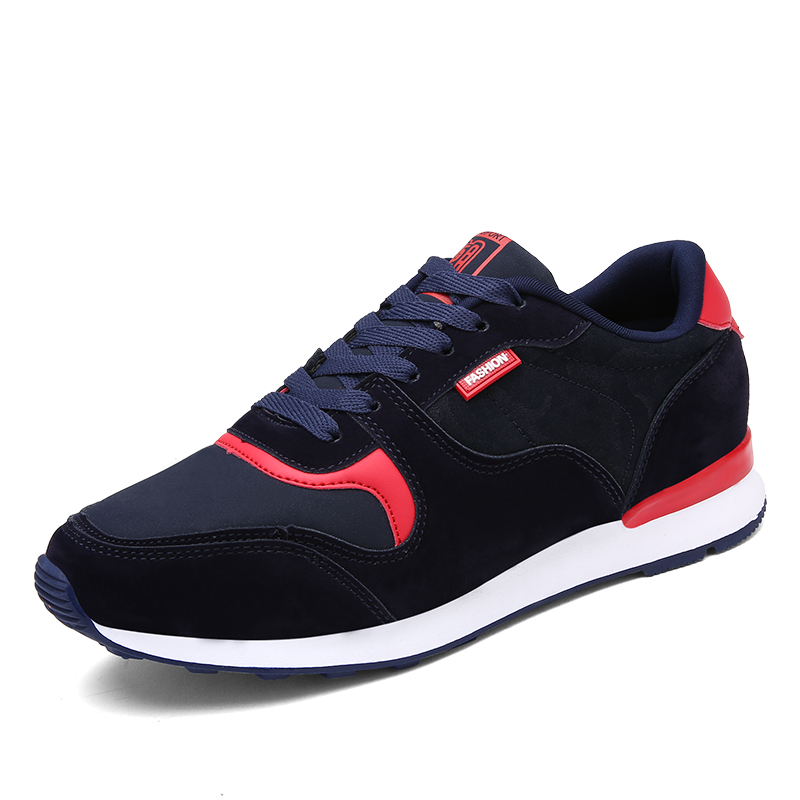 ФОТО 2017 New Spring Fashion Large Size Blue Black Lacing Flat Casual Flock Men Shoes for Men Casual Shoes Breathable Footwear