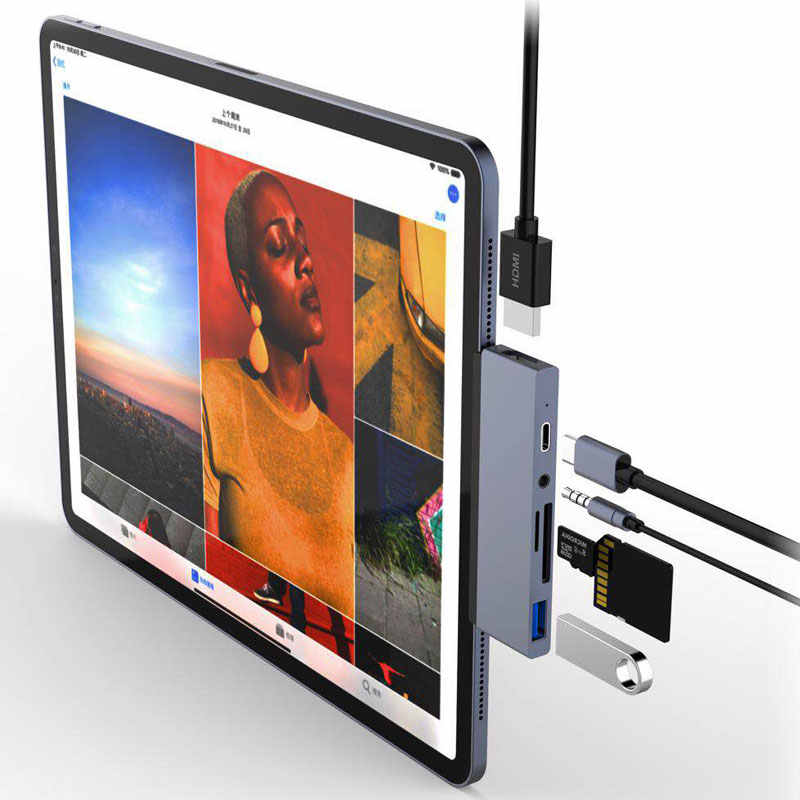 Mosible Usb C HUB HDMI Adaptor dengan USB-C PD TF SD USB 3.0 3.5 Mm Jack Port USB Tipe C dock untuk iPad Pro 2018 MacBook Pro/Air