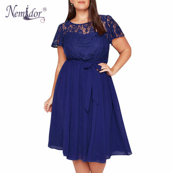 Nemidor Women Vintage Short Sleeve Floral Lace Top A-line Dress O-neck Plus Size 8XL 9XL Party Chiffon Midi Cocktail Swing Dress lace up stripes a line midi dress