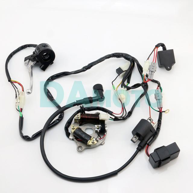 wiring loom harness cdi magneto start switch brake lever coil for pw50 wiring harness diagram at Pw50 Wiring Harness