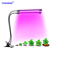 Foxanon Dual Head LED Light Bulb LED Full Spectrum Timing Plant Grow Light 8 Level Dimmable Gorwth Lamp for indoor greenhouse