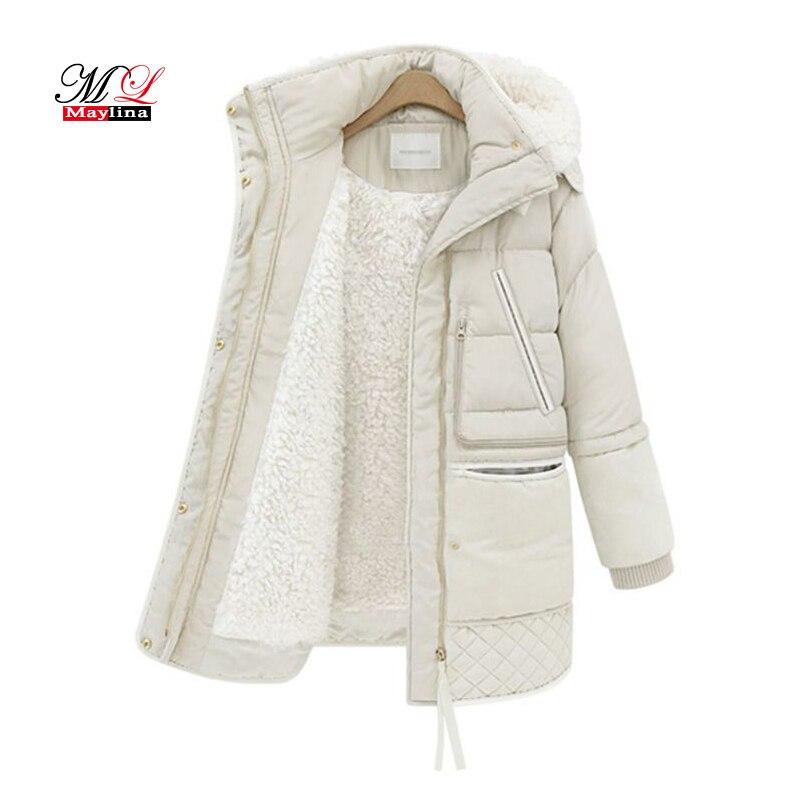 MLinina 2018 Printemps Hiver Femmes Vestes de Coton Manteau Rembourré Longue Slim Capuche Parkas Femelle Outwear Veste Chaude Laine Vêtements