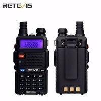 2xWalkie Talkie RETEVIS RT5R Portable Ham Radio 5W 128CH UHF VHF Interphone DTMF VOX Dual Band