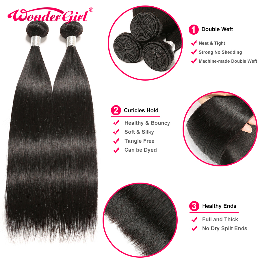 Image 5 - Brazilian Straight Hair Bundles With Closure Human Hair Weave Bundles With Closure Remy Hair 3 Bundles With Closure Wonder girl-in 3/4 Bundles with Closure from Hair Extensions & Wigs