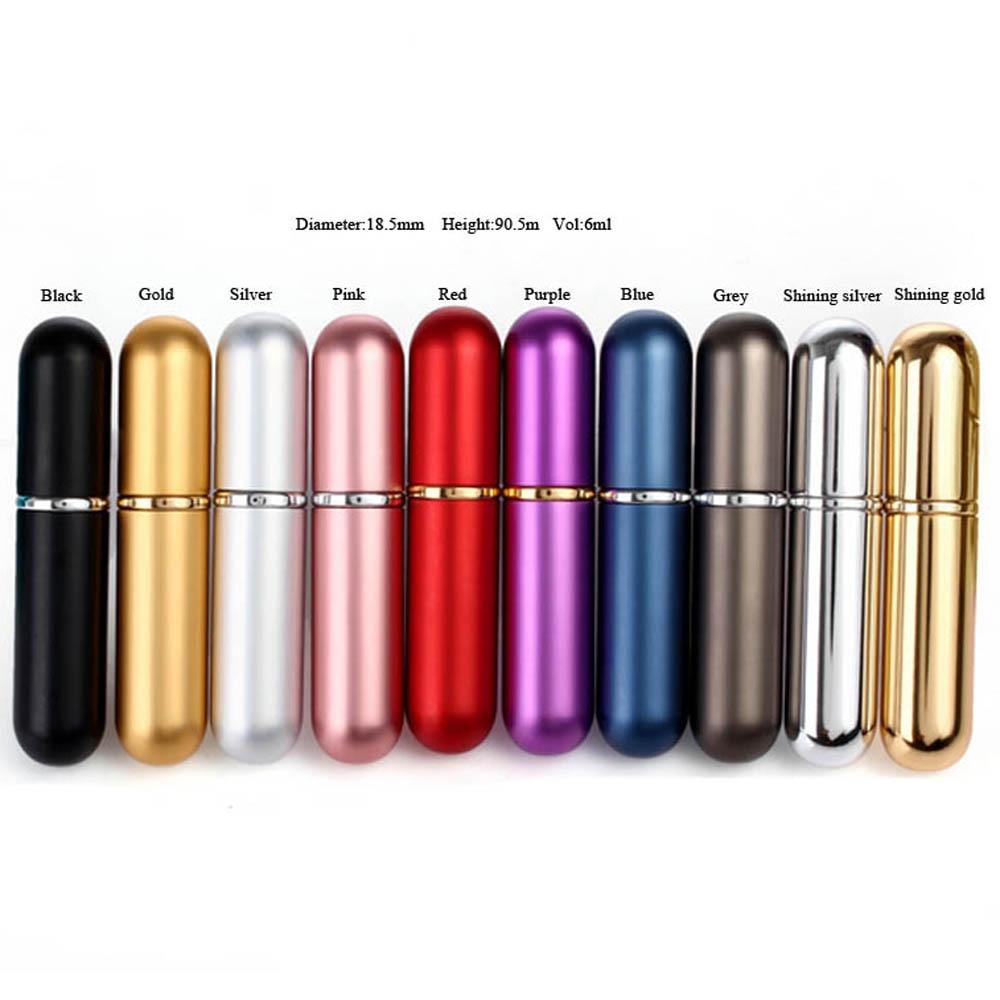 Free Shipping - 6 x  6ml Mini Perfume Bottle, Aluminum Spray Atomizer,Sample Refillable Fragrance Bottle