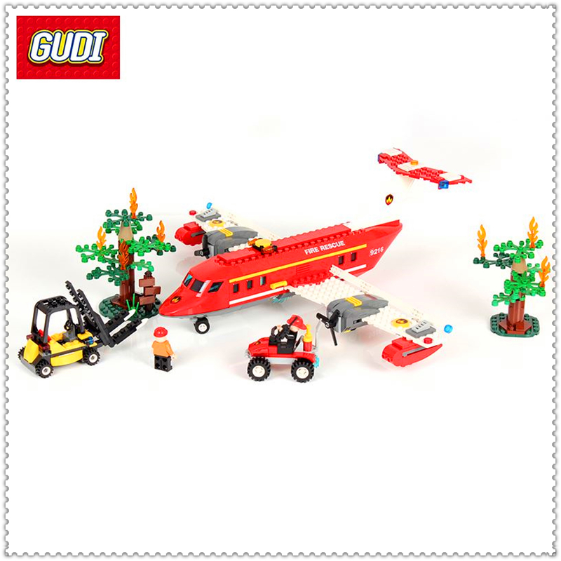 GUDI 9216 522Pcs Fire Forces Special Firefighting Aircraft Building Block Educational  Toys For Children Compatible Legoe jie star fire ladder truck 3 kinds deformations city fire series building block toys for children diy assembled block toy 22024
