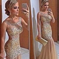Спинки Шампанское Русалка недавно золото Бисер блестящие Вечеринка Длинные Пром платье Vestido formatura для матери невесты платья