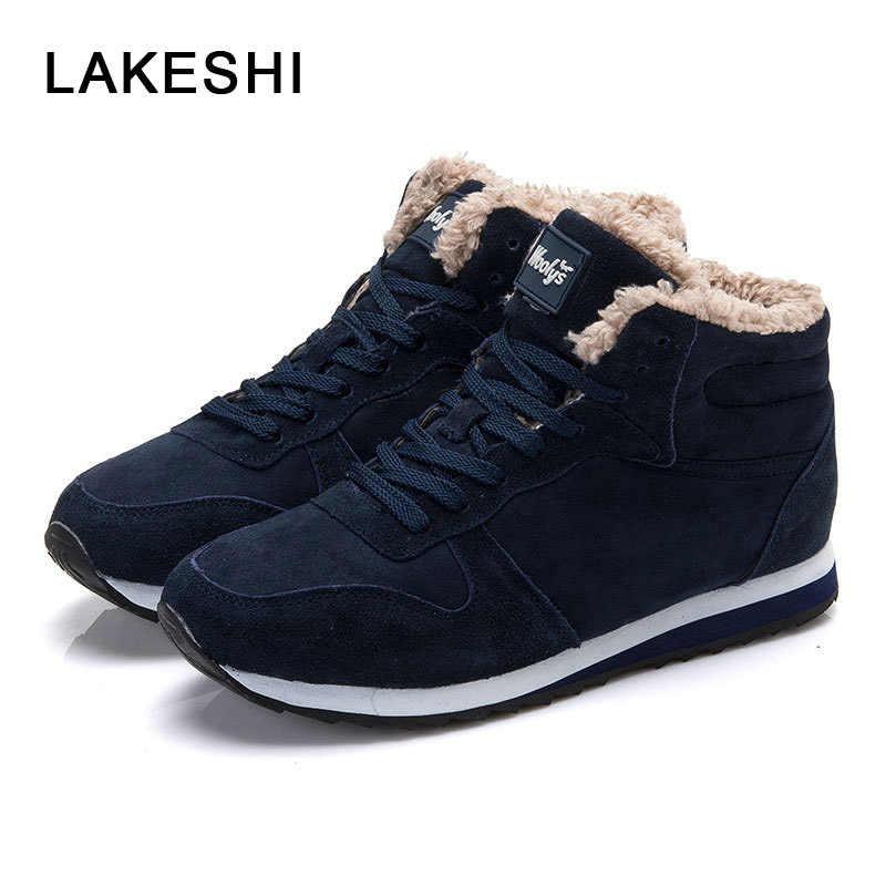 LAKESHI Mannen Casual Schoenen Zwarte Mannen Sneakers 2019 Winter Mannen Schoenen Warm Bont Sneeuw Schoenen Flock Lace Up Mannelijke Schoeisel wandelschoenen