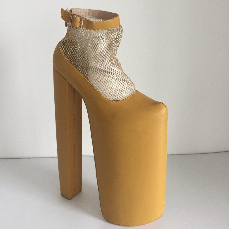 Tacón Plataforma Detalle Mujeres Malla Tamaño custom Pulgadas Brown Personalizado Light Personalizados 10 14 Color Real Las Zapatos De Marrón Luz Imagen wat4X