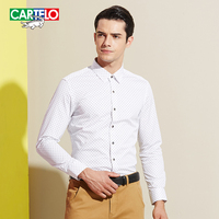 Cartelo Crocodile New Men S Business Wave Point Printing Men Shirt Long Sleeve 2016 Slim Floral
