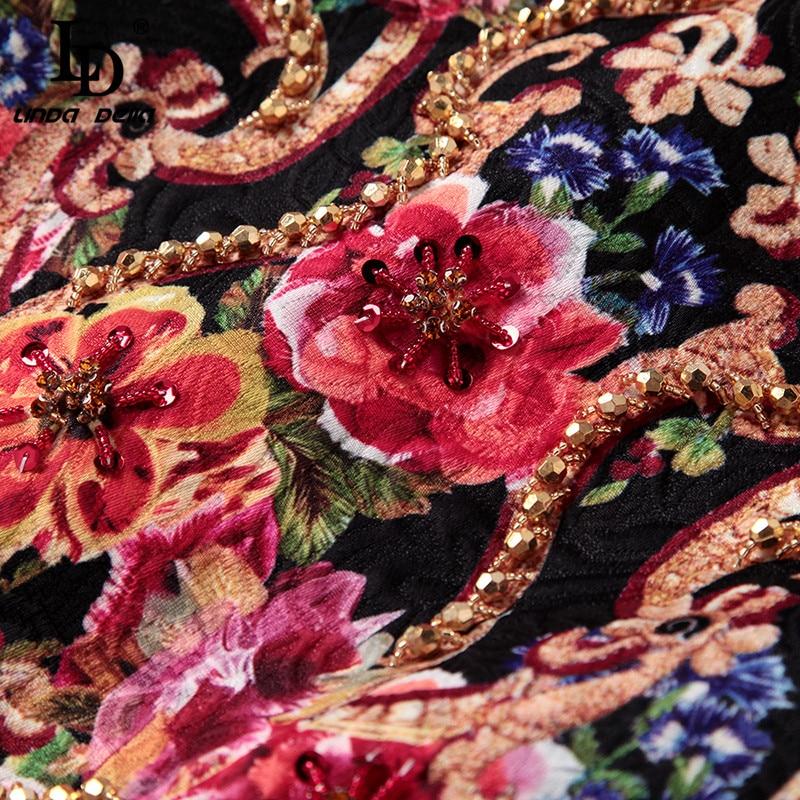 Image 5 - LD LINDA DELLA 2019 Autumn Fashion Runway Dress Women's Sleeveless Tank Retro Crystal Beading Floral Print Mini Vintage Dress-in Dresses from Women's Clothing
