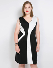 Cute Ann Womens Sexy V-neck Sleevelesss Plus Size Party Dress Contrast Color Patchwork Pencil Dress Spring Midi Dress Casual