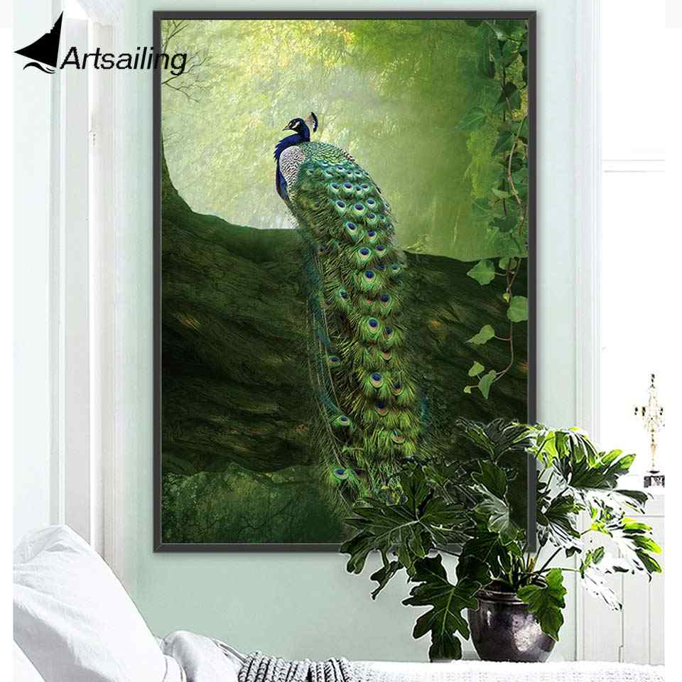ArtSailing Abstract Nordic canvas art Beautiful peacock Animal Home decoration posters Pictures for Living Room modern Painting