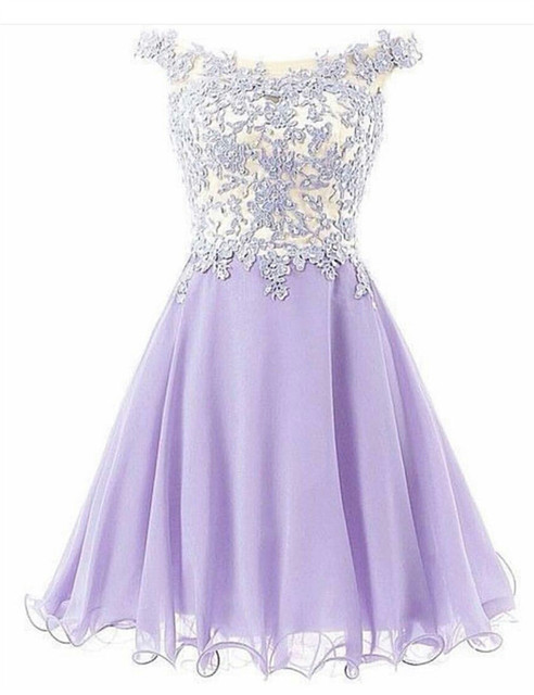cute cheap top-rated real united kingdom Cheap Lavender Chiffon Scalloped Knee Length A-line Off Shoulder Homecoming  Dress Pearls Beading Crystal Homecoming Dress Sale