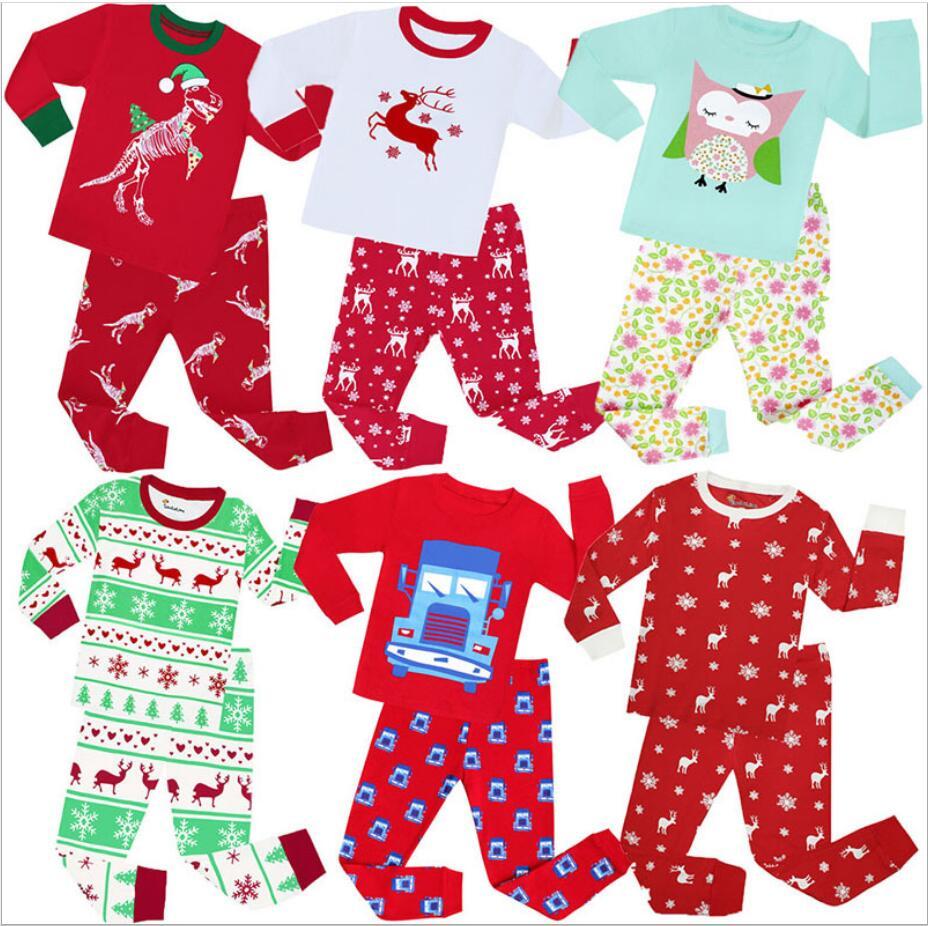Desenhos animados de natal crianças pijamas meninos algodão pijamas meninas bonito casa pijamas crianças conjunto meninas algodão pijamas tamanho 2-8y