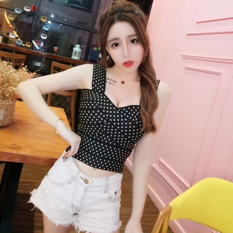 Young Gee Womens Sexy Strap Tanks Crop Top Female Polka Dot Summer Bustier Bralette Camisole Tops Cropped Feminino blusa femme