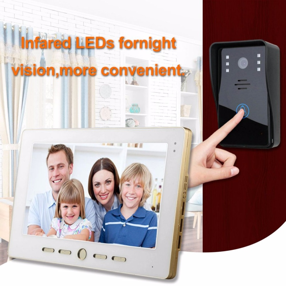 10 inch HD Video Door Phone Intercom Doorbell Touch Button Remote Unlock Night Vision Security CCTV Camera Home Surveillance