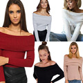 Autumn Winter Women Basic Pullover Sweaters Female Sexy Slash Neck Off Shoulder Knitted Sweater Pullovers Tops  H9