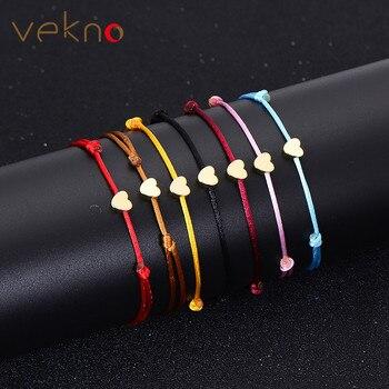VEKNO Gold Color Heart Bracelet Silver Handmade Jewelry Multicolor Rope Adjustable String Lucky Bracelet For Women Children
