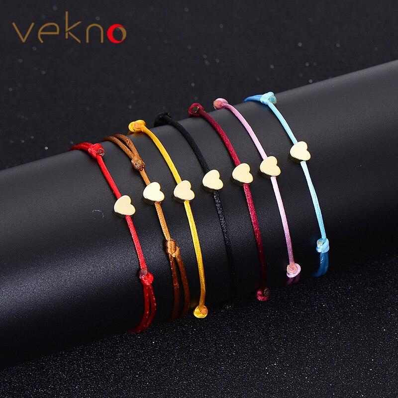 VEKNO Goud Kleur Hart Armband Zilveren Handgemaakte Sieraden Multicolor Touw Verstelbare String Geluk Armband Voor Vrouwen Kinderen