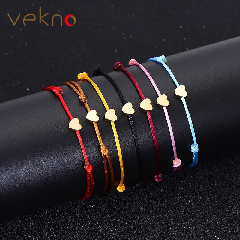 VEKNO Minimal Gold Lovely Heart Bracelet Handmade Jewelry Multicolor Rope Adjustable String Lucky Bracelet For Women Children