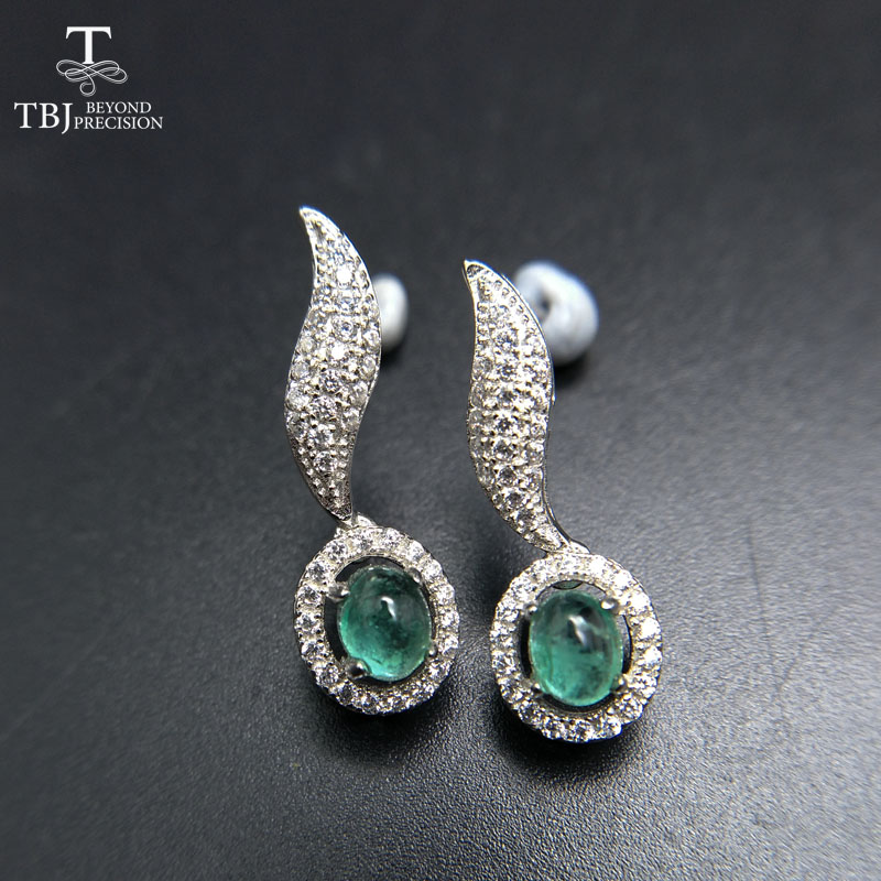 TBJ,two pieces of natural zambia emerald gemstone New elegant earring in 925 sterling silver for ladies as gift jewelry box laconic and elegant two pieces of leaves design rings for female