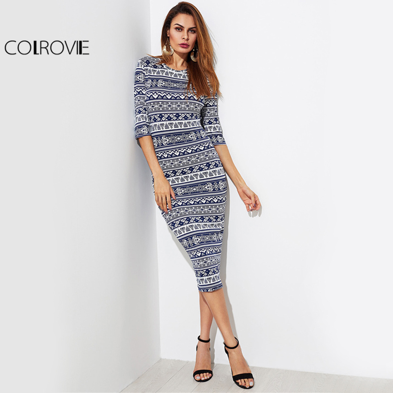 COLROVIE Tribal Midi Autumn Dress 2017 Navy Boho Geo Print Form Fitting Bodycon Dress New Spring Women Elegant Half Sleeve Dress