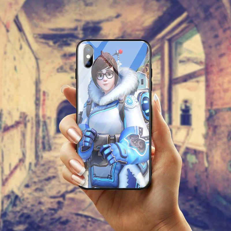 Для iPhone 5 5S SE 8 7 6 6 S Plus X XR XS Max сумки из закаленного стекла Чехлы для мобильных телефонов крышка оболочки модные игры Overwatchs