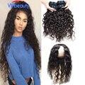 360 lace frontal encerramento com bundles peruano onda de água do cabelo virgem com fechamento vipbeauty pré arrancadas fechamento com 2 feixes