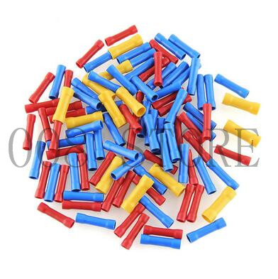 100pcs Insulated Butt Connectors Mayitr Fully Heat Shrink Electrical Wire Terminals Assorted Kit BV1+BV2+BV3 480pcs heat shrink electrical connectors assorted insulated crimp terminals ring butt kit red yellow blue