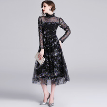 PADEGAO Banquet Noble Summer Spring Dresses Garment 2019 New Womens Long Sleeve Lotus Leaf Edge Slim Black Mesh Dress