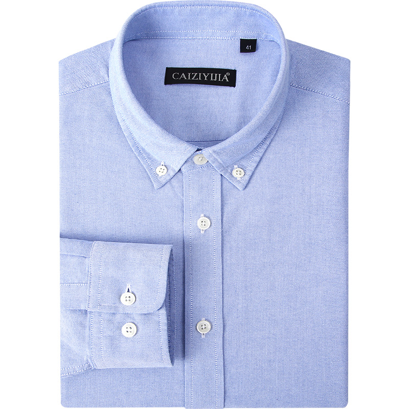 Men's Fitted Button-Collar Solid Non-Iron Dress Shirt Without Pocket Smart Casual Long Sleeve Regular Cuff Oxford Cotton Shirts
