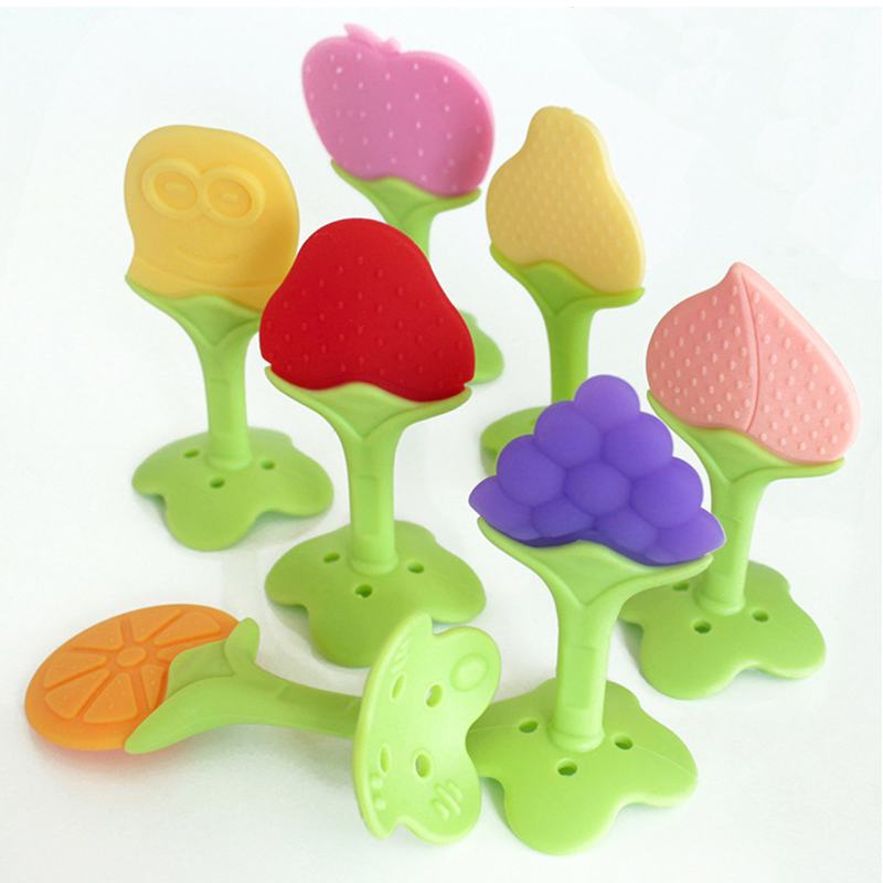 Baby Teething Toys BPA Free Soft Silicone Baby Fruit Teethers Toys Baby Training Massaging Textured Teether Molar Teeth Soother