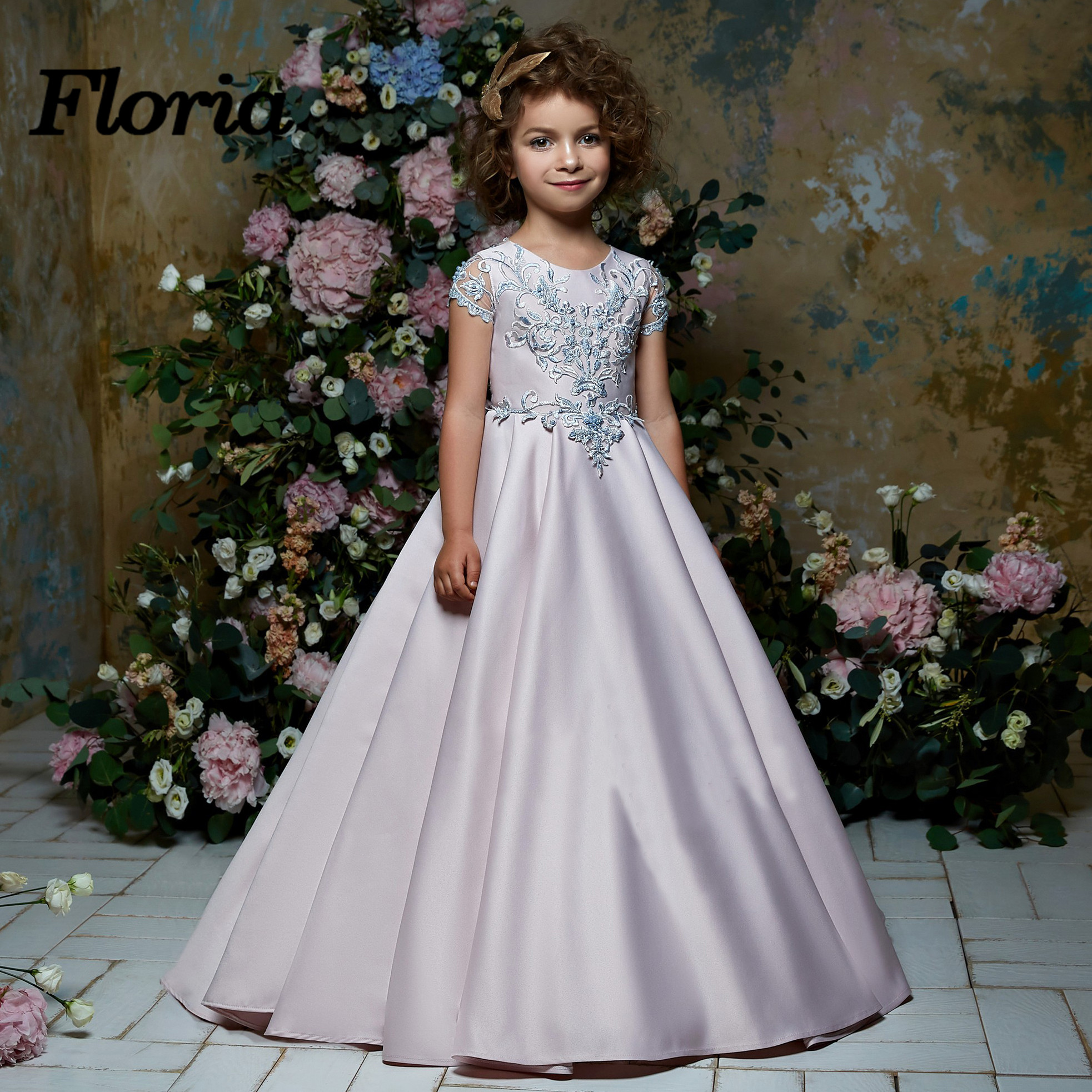 New Arrivals Princess Lace Appliques Ball Gowns   Flower     Girl     Dress   Pageant Gowns For Weddings First Communion   Dresses   For   Girls