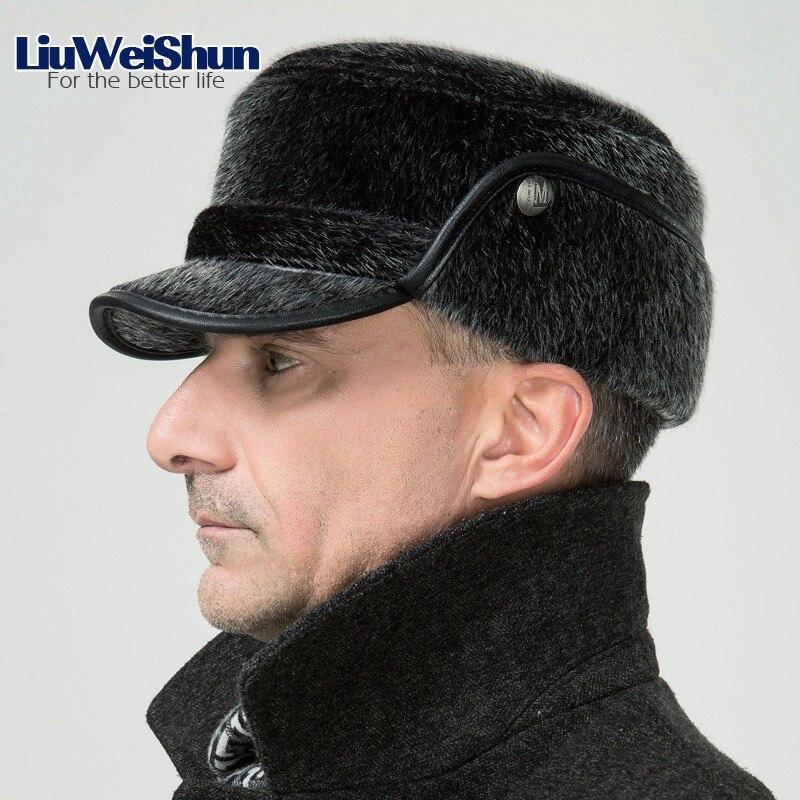 Winter Thicken Flat Top Bomber Hats Men Top Quality Russian Snow Hat with  Earflaps Retro Faux Fur Warm Outdoor Bonnet for Men 02c3e45d7