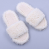 Women's Winter Wool Fur Mink Slippers Real Fur Slides Female Furry Indoor Casual Warm Room Flat Slipper Luxury Plush Shoes